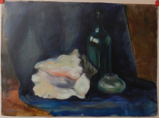 Viliam CHMEL - Painting - Still life with bottle