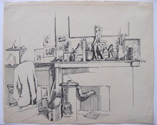 Frans MASEREEL - Drawing-Watercolor - Atelier avec poêle et cheminée