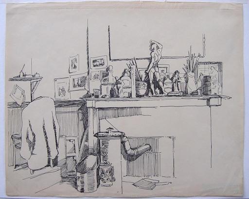 Frans MASEREEL - Dibujo Acuarela - Atelier avec poêle et cheminée
