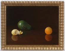 "August ALBO - Pintura - ""Avocado, Orange and Lemon"", oil on canvas, 1950s"