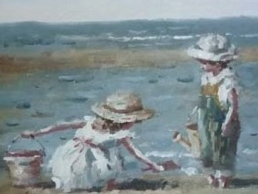 Francis CRISTAUX - Painting - Enfants sur la plage