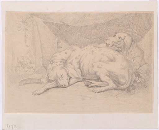 """Johann Georg VON DILLIS - Drawing-Watercolor - """"Dogs"""" by Georg von Dillis, early 19th Century"""