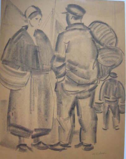 Pierre DE BELAY - Dibujo Acuarela - BRETONNE ET MARIN AU PORT