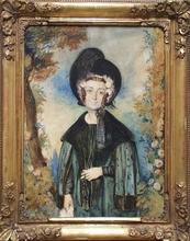 "Octavius OAKLEY - Drawing-Watercolor - ""Portrait of a Lady"" by Octavius Oakley, ca 1850"