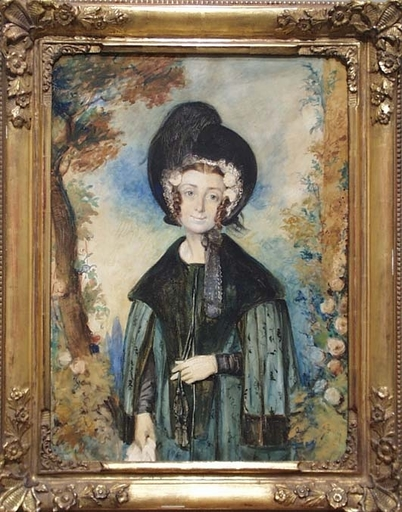 "Octavius OAKLEY - Dessin-Aquarelle - ""Portrait of a Lady"" by Octavius Oakley, ca 1850"