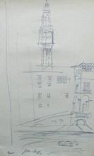 Jean DUFY - Dessin-Aquarelle - « Florence - Le Beffroi du Palais Vecchio »
