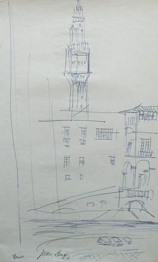 Jean DUFY - Dibujo Acuarela - « Florence - Le Beffroi du Palais Vecchio »
