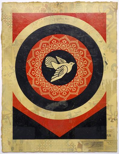 谢帕德·费瑞 - 版画 - Peace Dove (Red and Black)