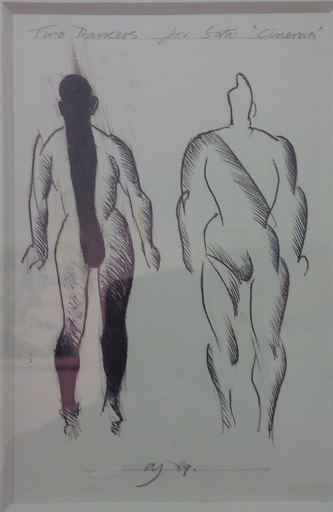 Allen JONES - Dibujo Acuarela - Two Dancers for Satie Cinema, 1989