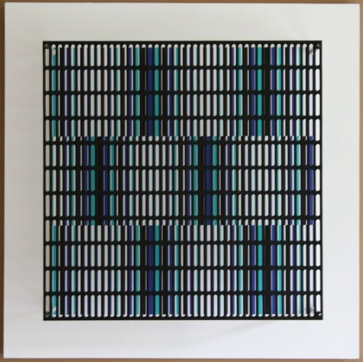 Antonio ASIS - Escultura - Vibration bandes blue, turquoise et noir