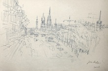 Jean DUFY - Dessin-Aquarelle - « Edinburgh vue de Carlton Hill sur Princess street » .