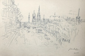 Jean DUFY - Disegno Acquarello - « Edinburgh vue de Carlton Hill sur Princess street » .
