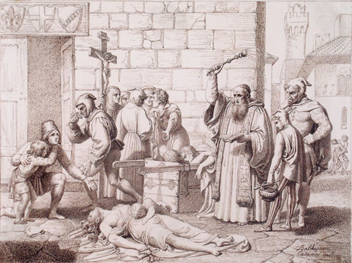 Baldassare CALAMAI - Dibujo Acuarela - AN EPISODE OF THE PLAGUE IN FLORENCE IN 1348