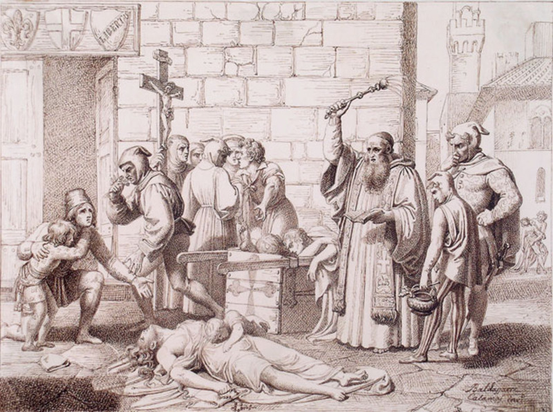 Baldassare CALAMAI - Drawing-Watercolor - AN EPISODE OF THE PLAGUE IN FLORENCE IN 1348
