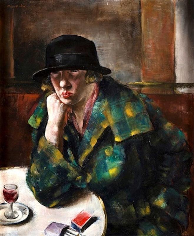 Jean FAUTRIER - Peinture - Femme assise dans un café