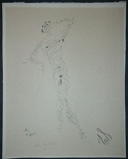 Jean COCTEAU - 版画 - Sous le manteau de feu X