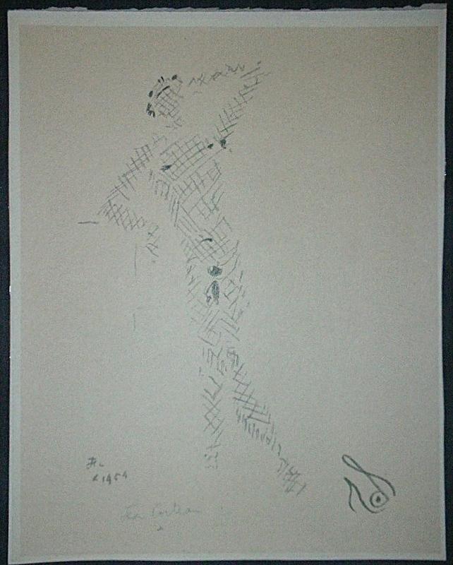 Jean COCTEAU - Grabado - Sous le manteau de feu X
