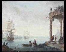 Charles François LACROIX DE MARSEILLE - Dessin-Aquarelle - Vedute di porto con capricci