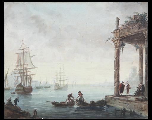 Charles François LACROIX DE MARSEILLE - Dibujo Acuarela - Vedute di porto con capricci