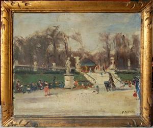 Albert BERTALAN - Painting - Jardin du Luxembourg