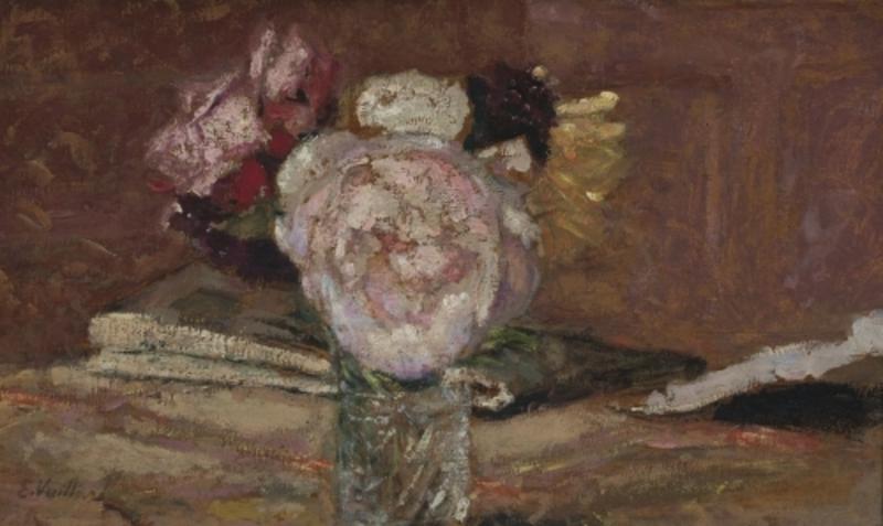 Édouard VUILLARD - Painting - Roses dans un vase de verre
