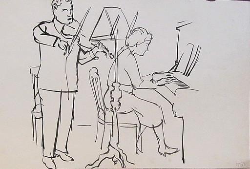 Erich HARTMANN - Dessin-Aquarelle - #19920: Paar beim Konzert.