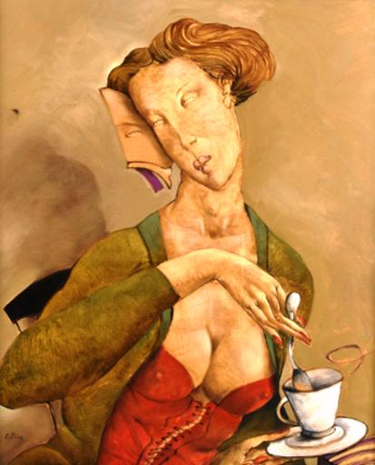 Jean-Pierre CEYTAIRE - Pintura - Madame joue à joue Tasse de thé