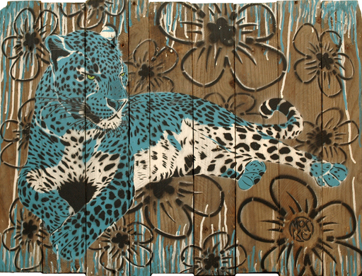 MOSKO - Pittura - Panthère Bleue A Fleurs