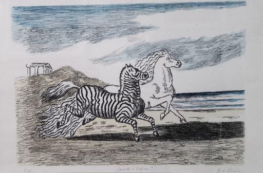 Giorgio DE CHIRICO - Estampe-Multiple - Cavallo e zebra