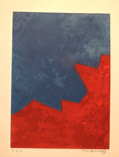 Serge POLIAKOFF - Print-Multiple - Composition rouge et bleue