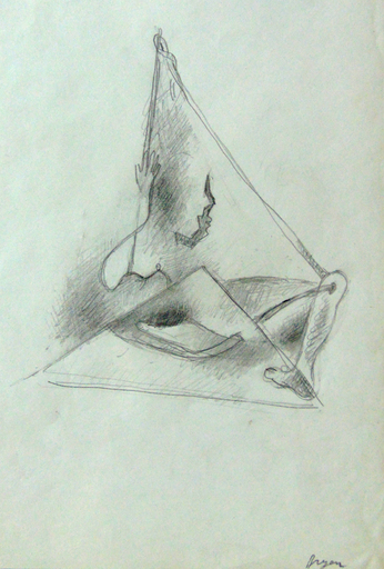 Camille BRYEN - Dibujo Acuarela - Surrealist Composition with Leg and Arm