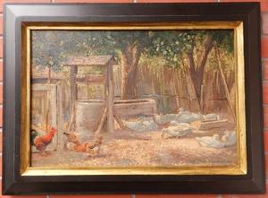Elemer HALASZ-HRADIL - Painting - The Farmyard