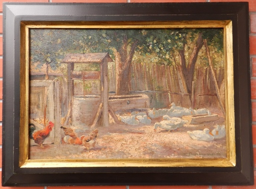 Elemer HALASZ-HRADIL - Pittura - The Farmyard