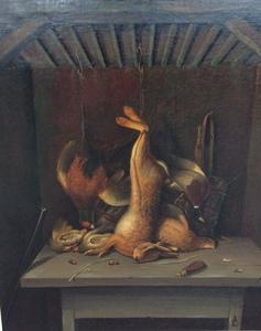 Andries Cornelis LENS - Pintura - stilleven met haas