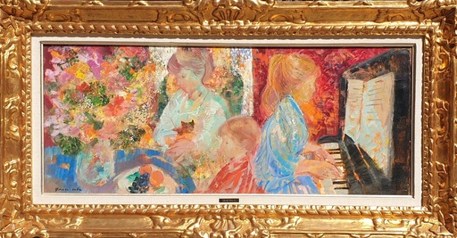 Emilio GRAU-SALA - Painting - interior con señoritas