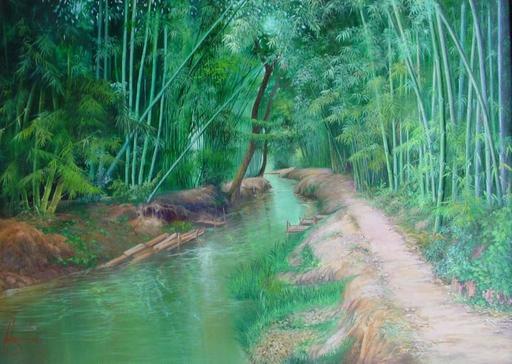 U MIN SOE - Painting - bamboo canal