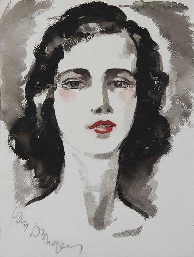 Kees VAN DONGEN - Zeichnung Aquarell - Portrait de jeune femme