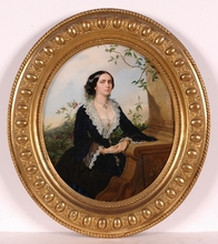 """Wilhelm RICHTER - Painting - """"Portrait of a Lady"""", 1857, Oil on Panel"""