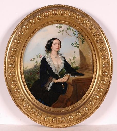 """Wilhelm RICHTER - Peinture - """"Portrait of a Lady"""", 1857, Oil on Panel"""