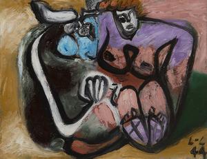 LE CORBUSIER - Peinture - Taureau et femme enlacés