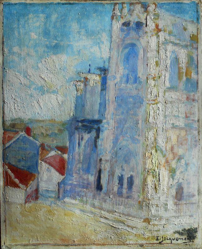 Edmond JACQUEMENT - Gemälde - LIMOGES - la CATHEDRALE