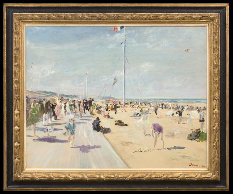 Lucien ADRION - Painting - La Plage à Deauville