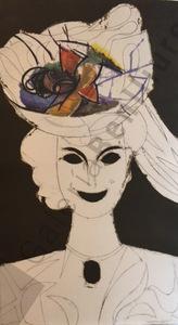 Manolo VALDÉS - Grabado - Mujer con sombrero