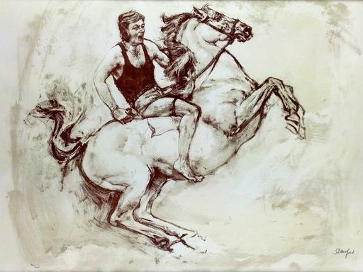Susan CRAWFORD - Estampe-Multiple - Man riding bareback
