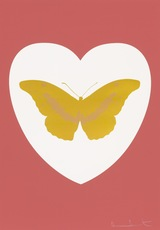 Damien HIRST - Grabado - I Love You - White/Coral/Oriental Gold/Cool Gold