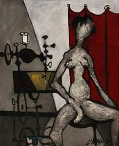 Claude VENARD - 绘画 - Nu à la machine à coudre