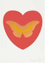 Damien HIRST - Stampa Multiplo - I Love You - Coral/Cool Gold/Oriental Gold