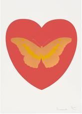 Damien HIRST - Grabado - I Love You - Coral/Cool Gold/Oriental Gold