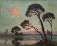 Ferdinand Loyen DU PUIGAUDEAU - Pintura - Soleil couchant sur la Brière