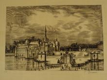 "Albert DECARIS - Grabado - ""Le chateau"""